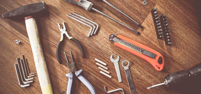 An assortment of hand tools.
